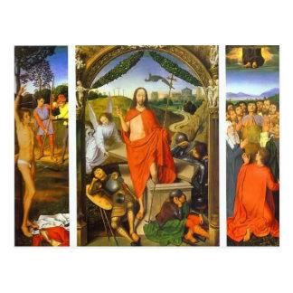 Tríptico de Hans Memling- de la resurrección Tarjetas Postales