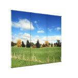 tríptico de la granja del paisaje impresión de lienzo