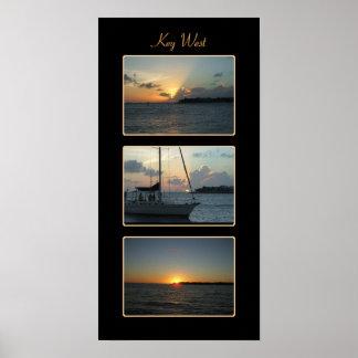 Tríptico de la puesta del sol de Key West Impresiones