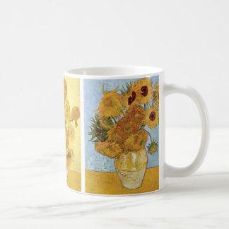 Tríptico de los girasoles de Vincent van Gogh Taza Clásica