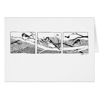 Tríptico de los pájaros del invierno - tinta tarjeta de felicitación