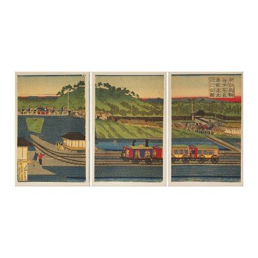 Tríptico de Ukiyo-e: Tren del vapor en la costa de Impresiones De Lienzo