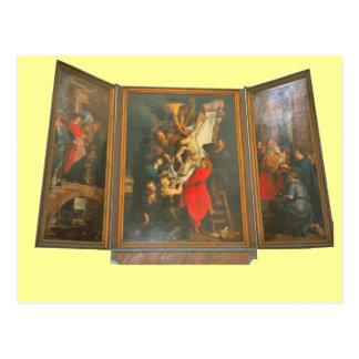 Tríptico del altar de una iglesia en Holanda Tarjetas Postales