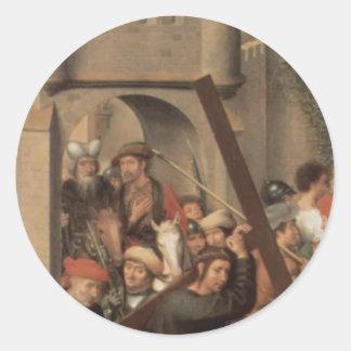 Tríptico del Memling-Altar de Hans de la catedral Pegatina Redonda