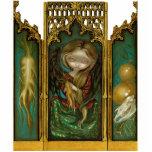 Tríptico gótico del ángel del mandrake del Mandrag Escultura Fotografica