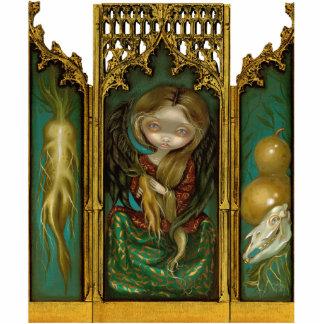 Tríptico gótico del ángel del mandrake del Mandrag Fotoescultura Vertical