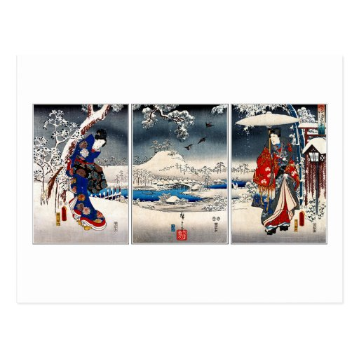 Tríptico nevoso del paisaje de Ukiyo-e Tarjetas Postales