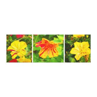 Tríptico rojo y amarillo de la flor impresión en lienzo