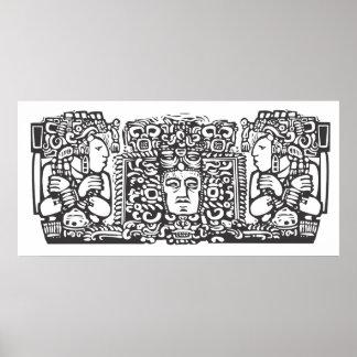 Tríptico Woodblock A del maya Posters
