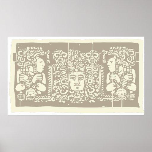 Tríptico Woodblock C del maya Posters