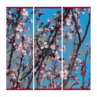 Triptych - Bird in Cherry Tree