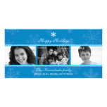 Triptych Blue Snowflake Photo Card
