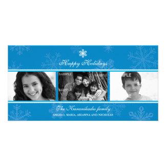 Triptych Blue Snowflake Photo Card