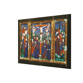 Triptych depicting the Crucifixion, Limousin Canvas Print