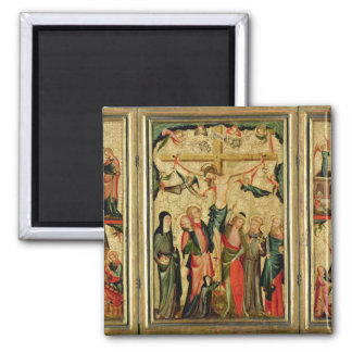 Triptych depicting the Crucifixion of Christ Magnet