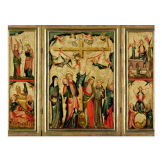 Triptych depicting the Crucifixion of Christ Postcard