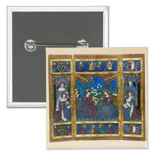 Triptych of Louis XII  and Anne de Bretagne 2 Inch Square Button