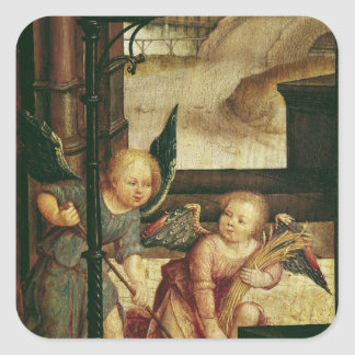 Triptych of the Adoration of the Child Square Sticker