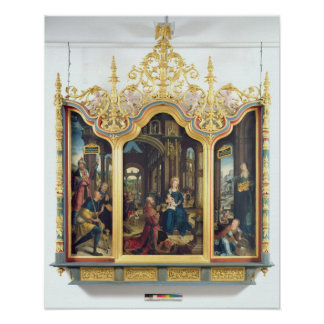 Triptych of the Adoration of the Infant Christ Poster