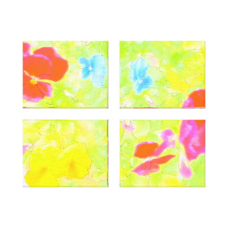 Triptych Pansy Abstact Canvas Print