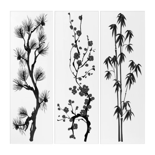 Triptych pine, cherry, bamboo black-white branches.like modern japanese or chinese style