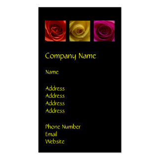 Triptych Roses orange yellow pink Business Card Template