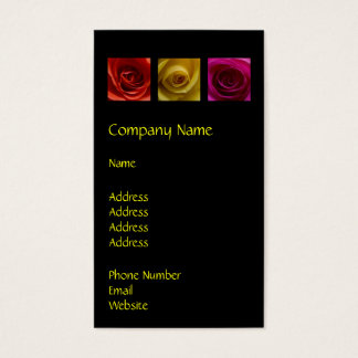Triptych Roses orange yellow pink Business Card