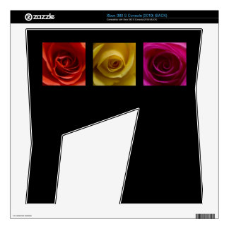 Triptych Roses orange yellow pink Decals For Xbox 360 S