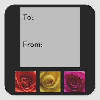 Triptych Roses orange yellow pink Gift Tags Square Sticker