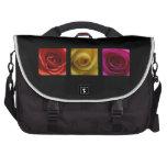 Triptych Roses orange yellow pink Laptop Messenger Bag