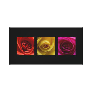 Triptych Roses orange yellow pink Panoramic Canvas Print