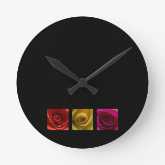 Triptych Roses orange yellow pink Round Clock