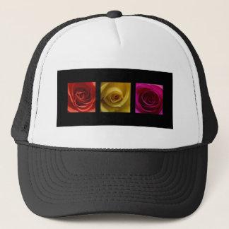Triptych Roses orange yellow pink Trucker Hat