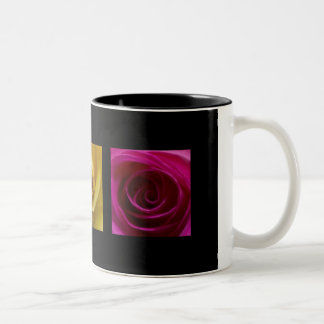 Triptych Roses orange yellow pink Two-Tone Coffee Mug