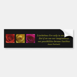 Triptych Roses orange yellow pink with quote Bumper Sticker