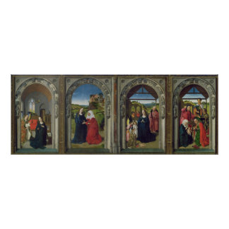 Triptych showing the Annunciation Poster