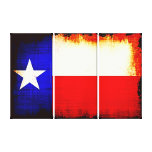 Triptych Texas Flag Stretched Canvas Prints