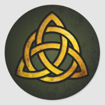 Triquet Celtic Knot (gold & black on grunge green)