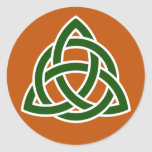 Triquet Celtic Knot (green and white) Classic Round Sticker