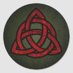 Triquet Celtic Knot (red & black on grunge green) Classic Round Sticker