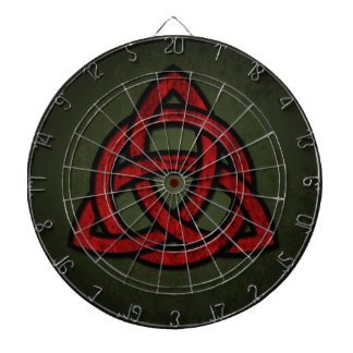 Triquet Celtic Knot (red & black on grunge green) Dartboard With Darts