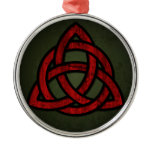 Triquet Celtic Knot (red & black on grunge green) Metal Ornament