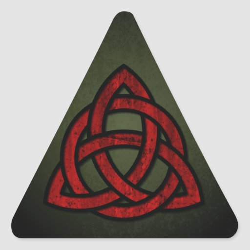 Triquet Celtic Knot (red & black on grunge green) Triangle Sticker