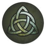 Triquet Celtic Knot (silver & black, grunge green) Classic Round Sticker