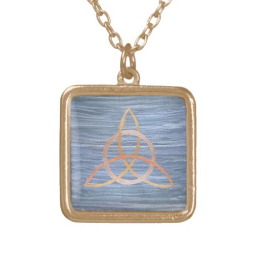 Triquetra Abstract   Blue Gold Celtic Trinity Knot
