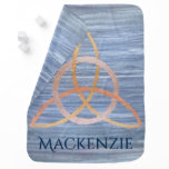Triquetra Baby | Blue Gold Celtic Trinity Knot Swaddle Blanket