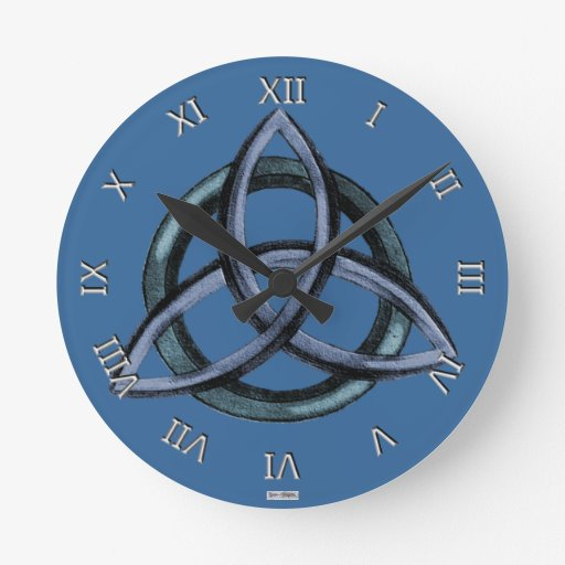 Triquetra (Blue) Round Clock