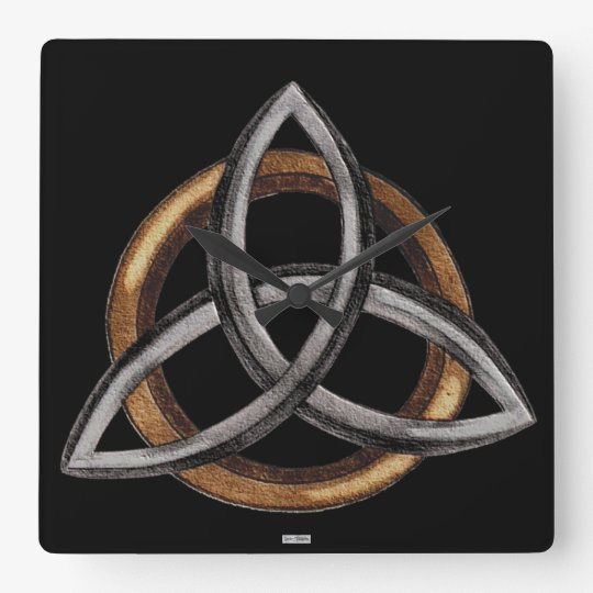Triquetra (Brown/Silver) Square Wall Clock