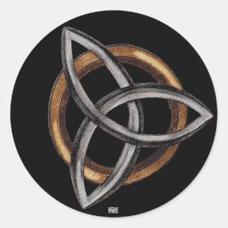 Triquetra (Brown/Silver) Classic Round Sticker