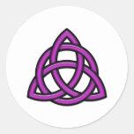 Triquetra Circle Purple Classic Round Sticker